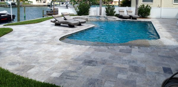 Silver Travertine pavers cladding