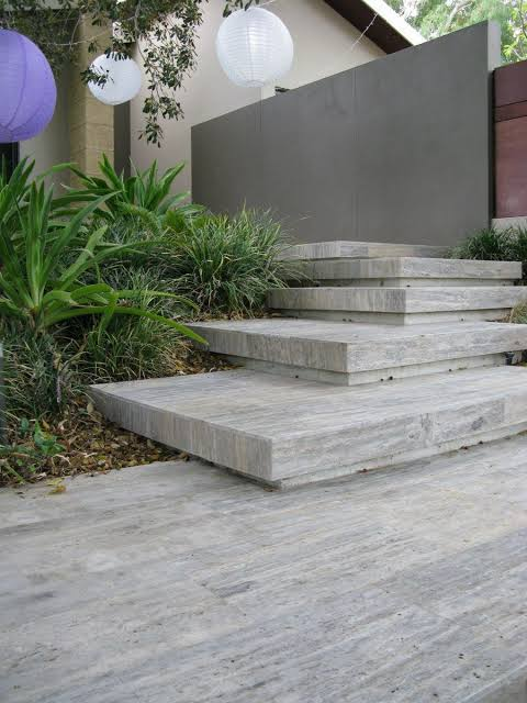 Silver Travertine Vein Cut pavers cladding