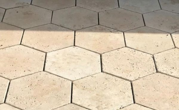 Classic Travertine Ivory Hexagon pavers cladding