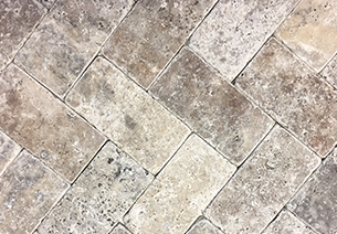 Silver Travertine brick pavers cladding